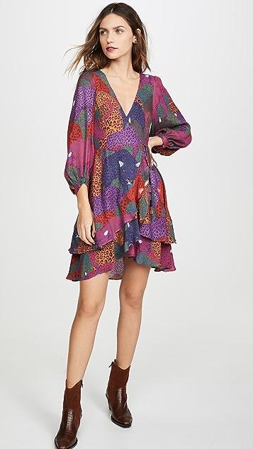 FARM Rio Rainbow Jaguar Wrap Dress