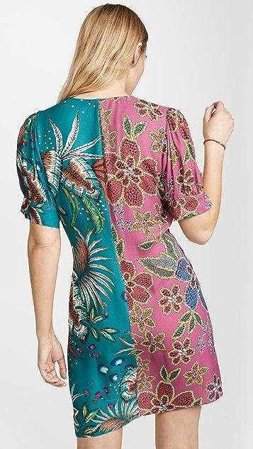 FARM Rio Floral Sparkle Mixed Wrap Dress