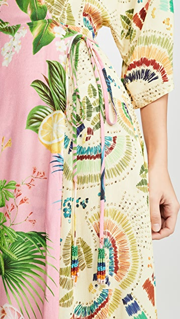FARM Rio Платье-халат с комбинированным принтом в виде ярких птиц