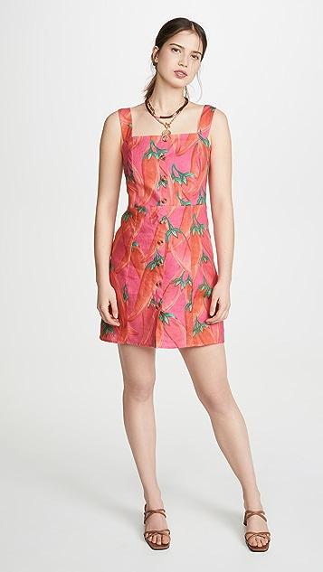 FARM Rio Red Pepper Linen Mini Dress