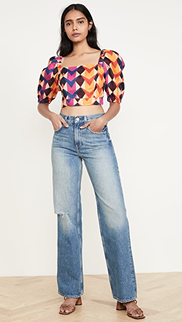 FARM Rio Lindeza Grafica Linen Crop Top