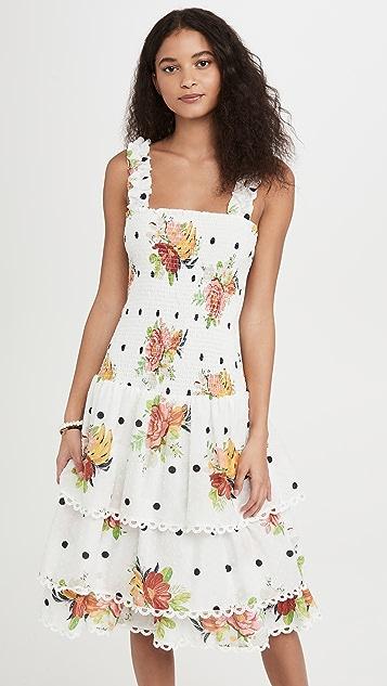 FARM Rio 白色中长连衣裙