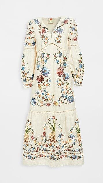 FARM Rio 刺绣水果长连衣裙