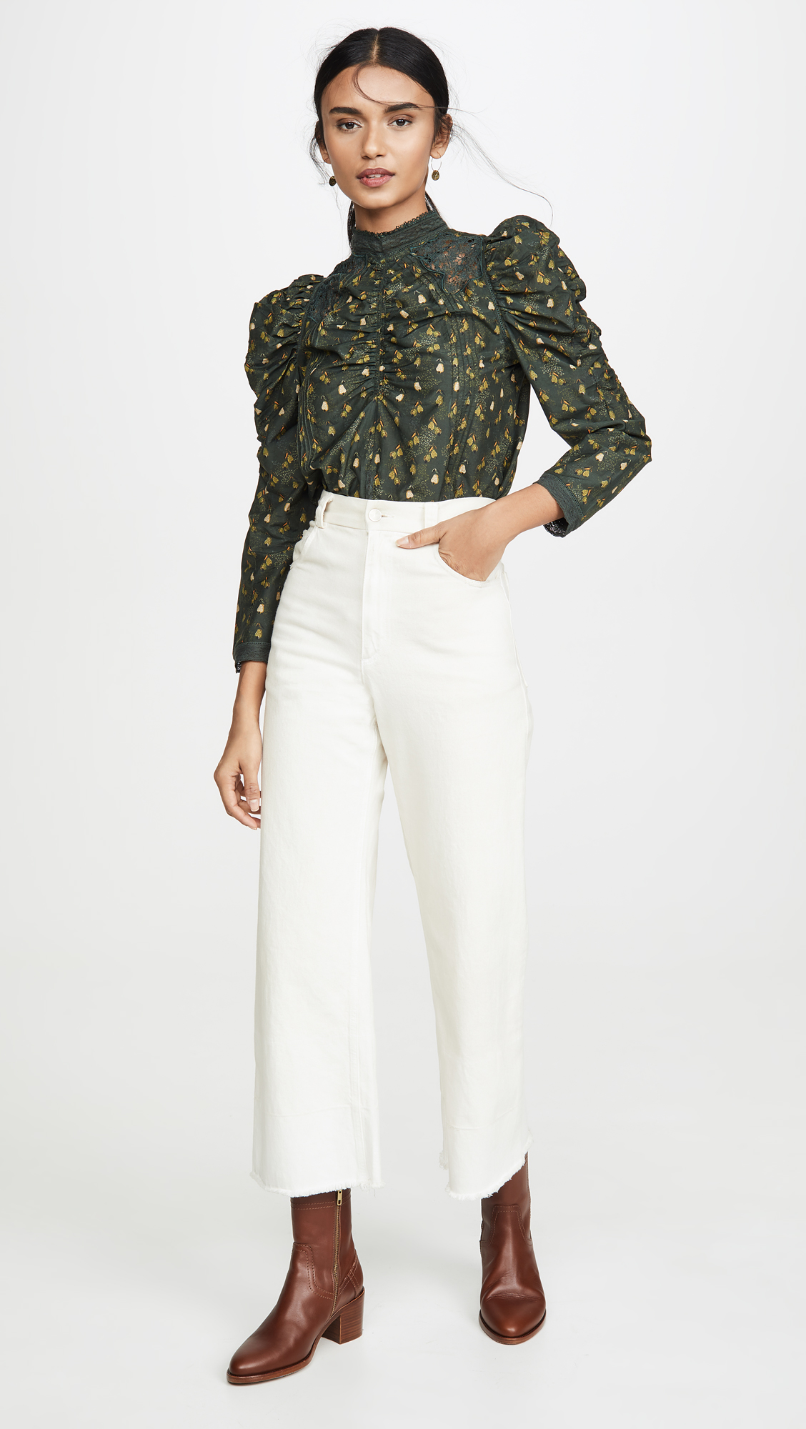 FARM Rio Military Cashew Blouse