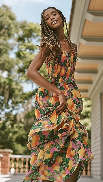 FARM Rio Orange Sunset Maxi Dress