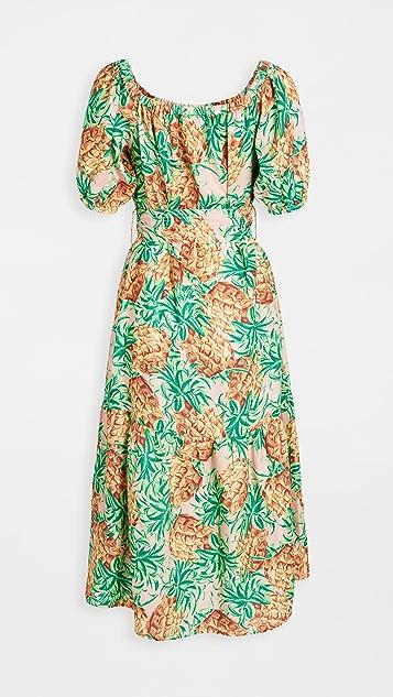 FARM Rio 菠萝花园亚麻连衣裙