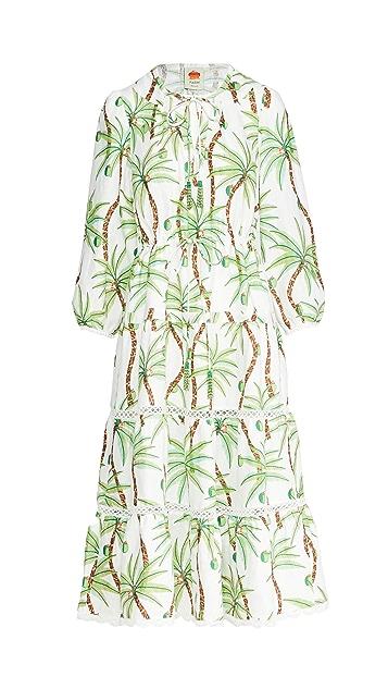 FARM Rio Swinging Palm Linen Dress