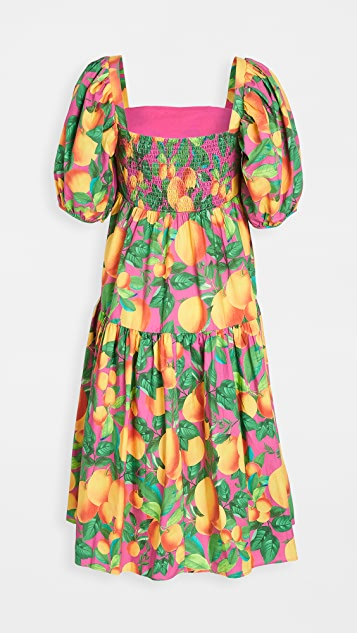 FARM Rio 橙色日落黄中长连衣裙