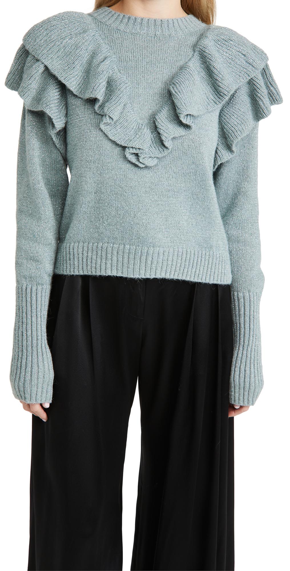 FARM Rio Metallic Ruffle Sweater