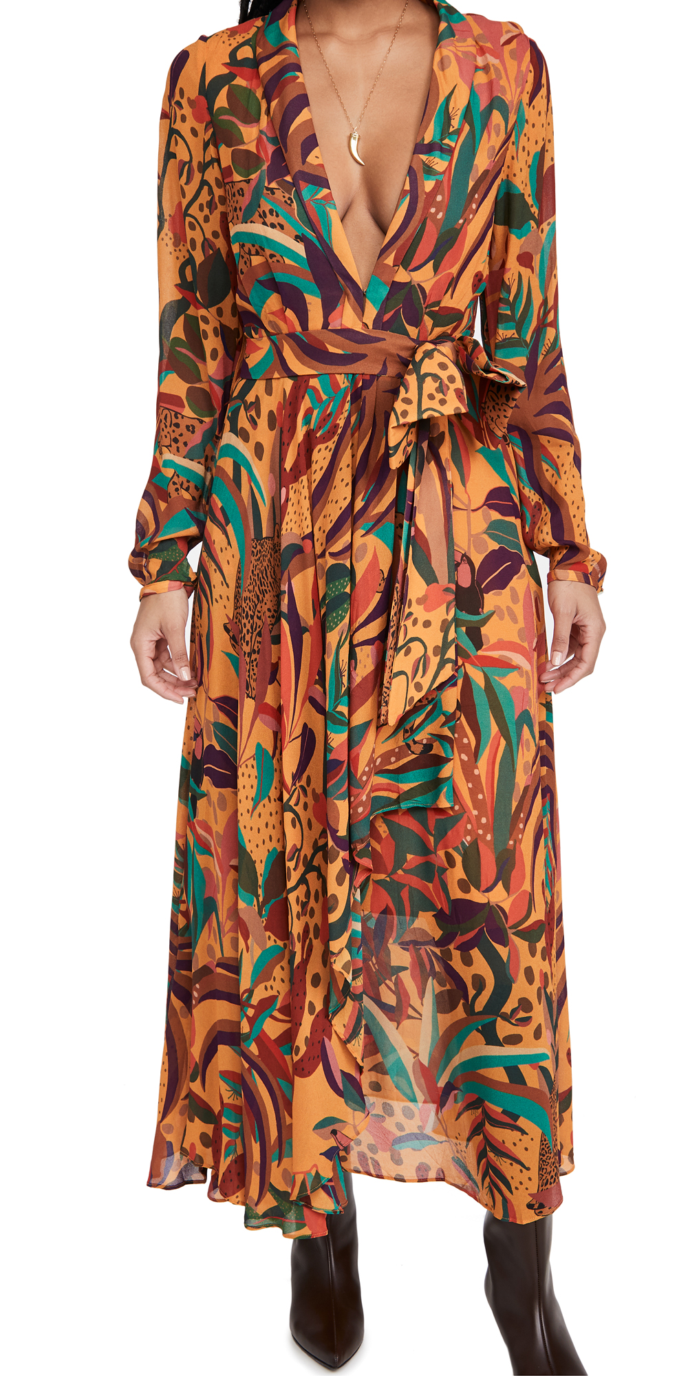 FARM Rio Golden Jungle Maxi Dress