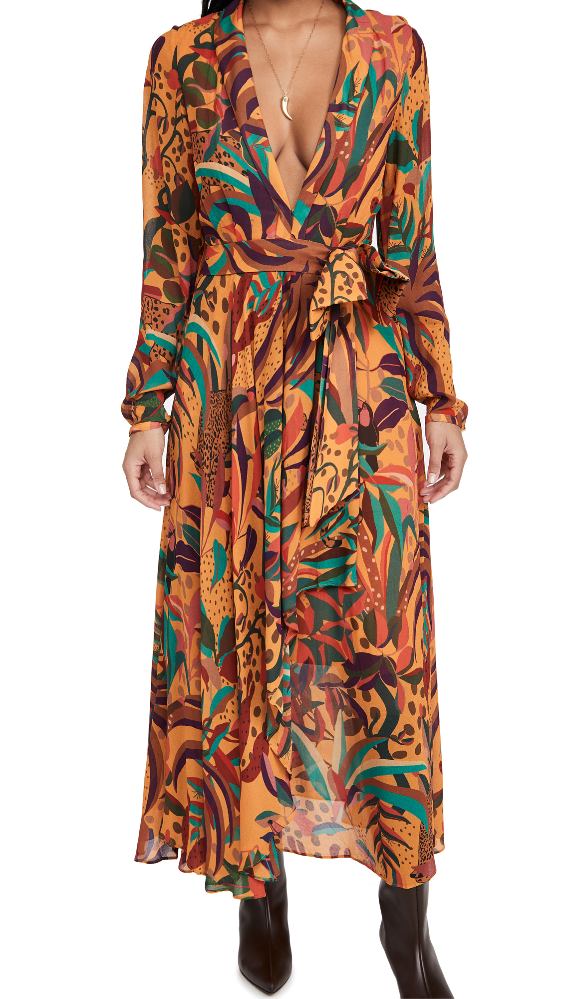 FARM Rio Golden Jungle Maxi Dress
