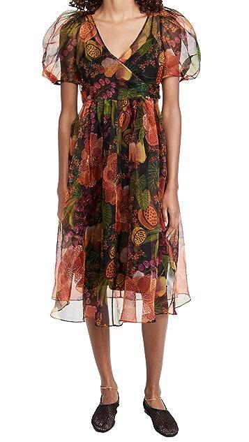 FARM Rio Black Fruit Floral Wrap Midi Dress