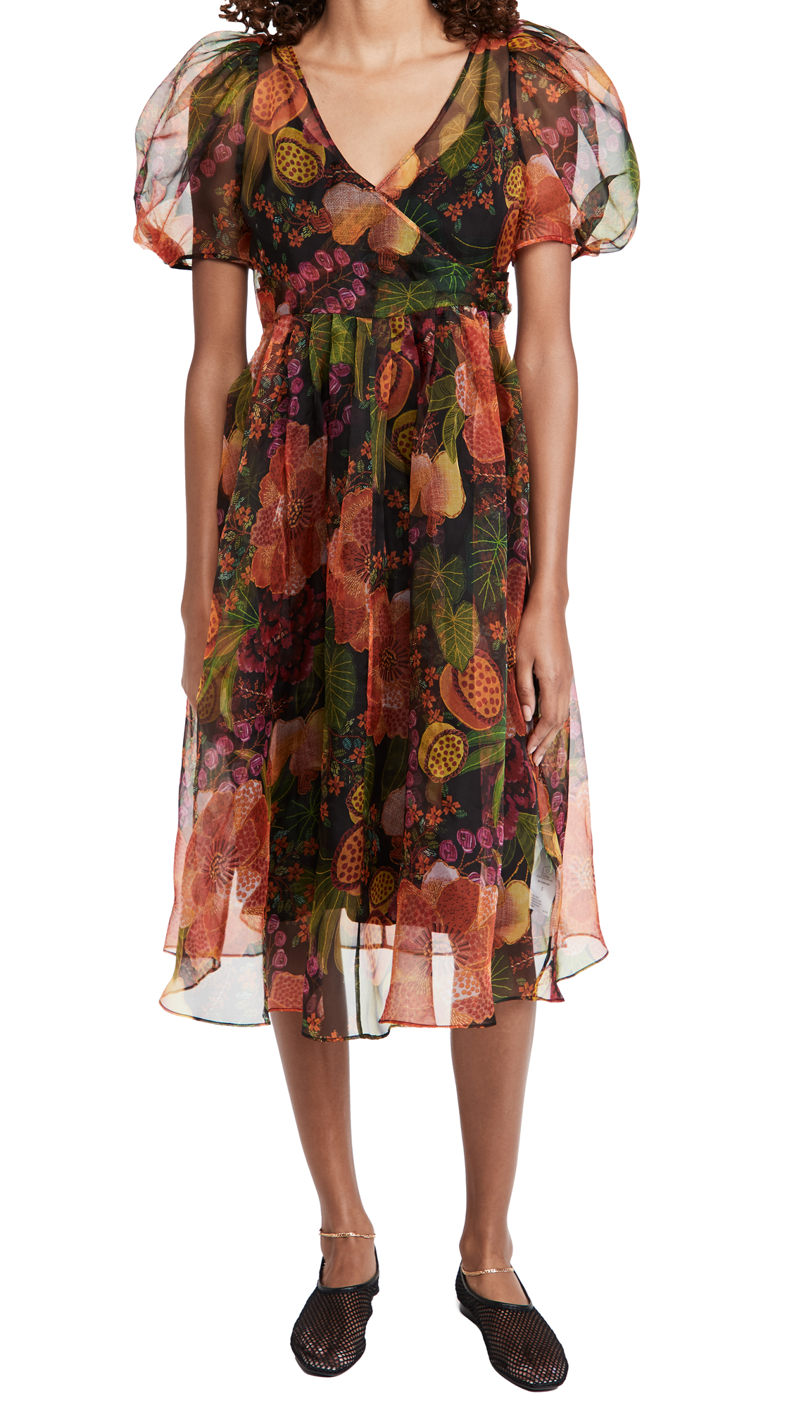 FARM Rio Black Fruit Floral Wrap Midi Dress