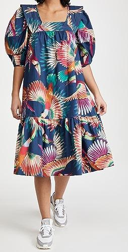FARM Rio - Navy Colorful Toucans Midi Dress