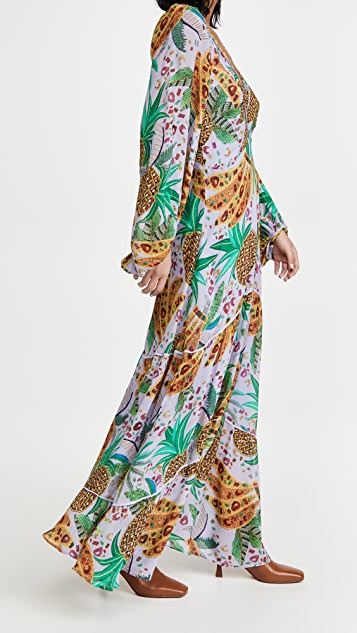 Farm Rio Lilac 混合水果元素长连衣裙