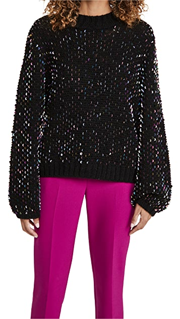 FARM Rio Embroidered Sequin Sweater