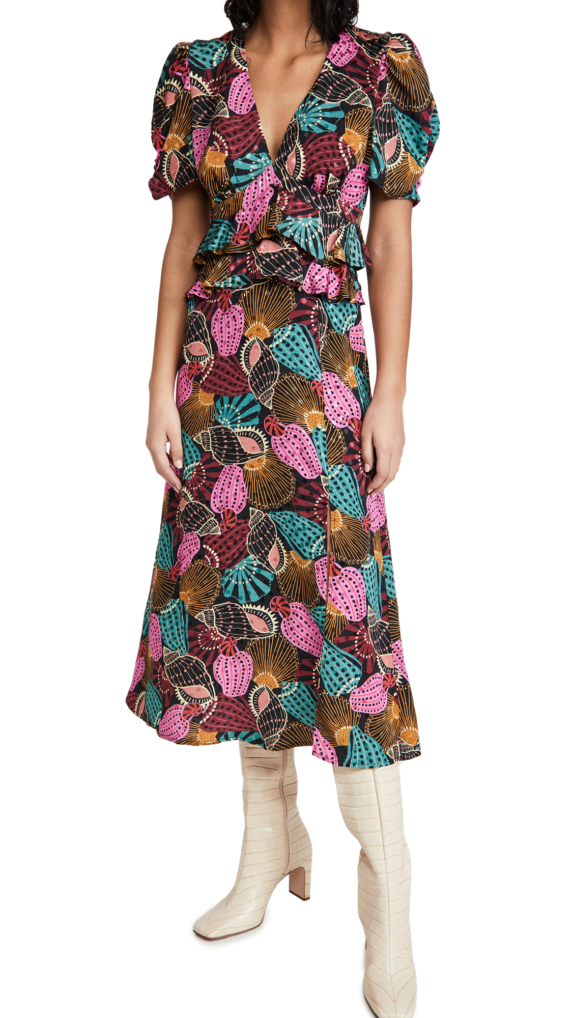 FARM Rio Shell Mix Midi Dress