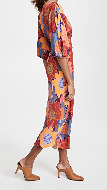 FARM Rio 花卉圆点抽褶腰部中长连衣裙