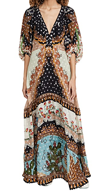 FARM Rio Embroidered Forest Maxi Dress