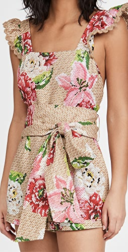 FARM Rio - Woven Floral Crossed Back Frilled Romper
