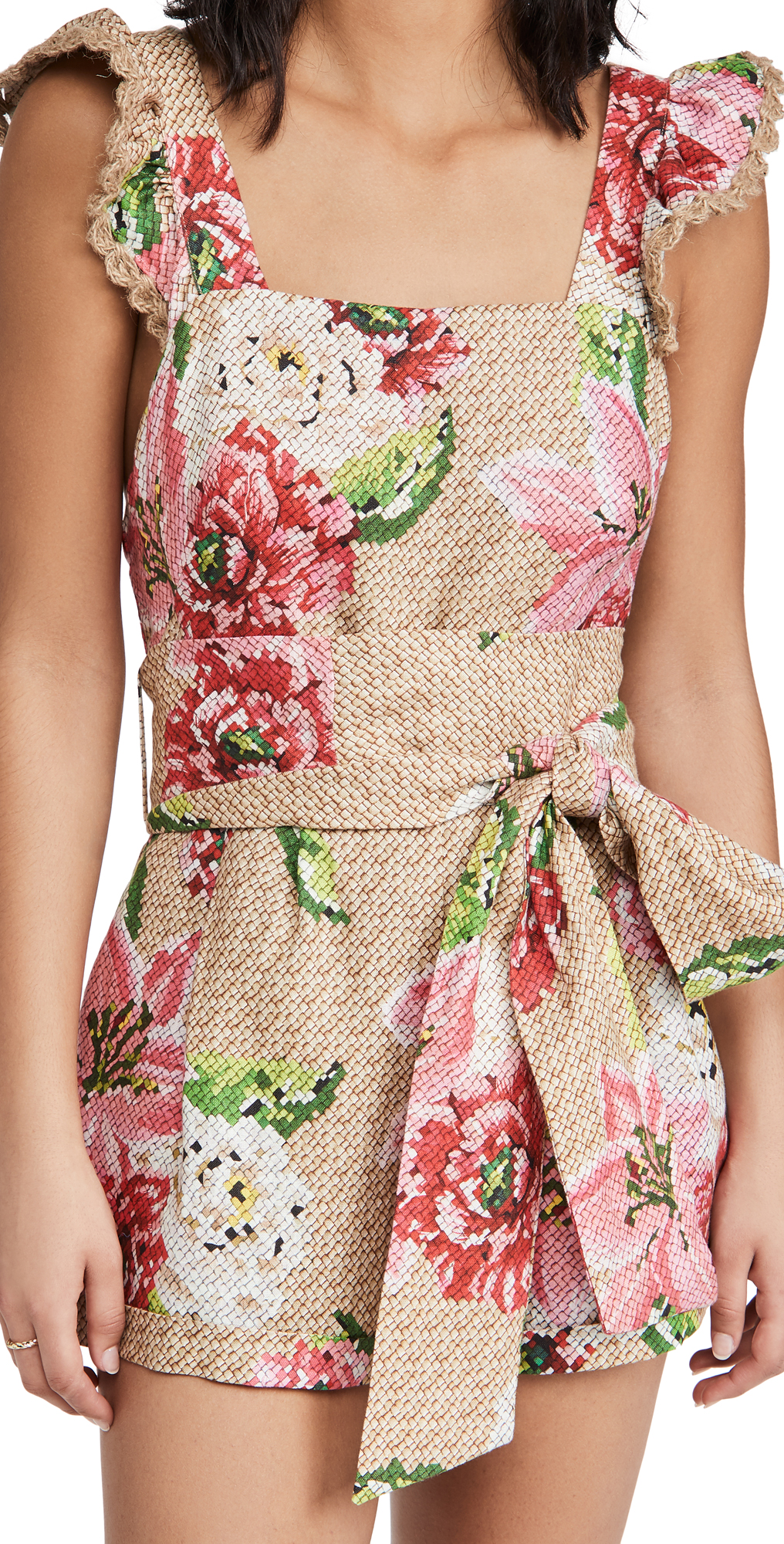 FARM Rio Woven Floral Crossed Back Frilled Romper