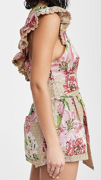 Farm Rio 梭织花卉交叉后身褶边短款连身衣
