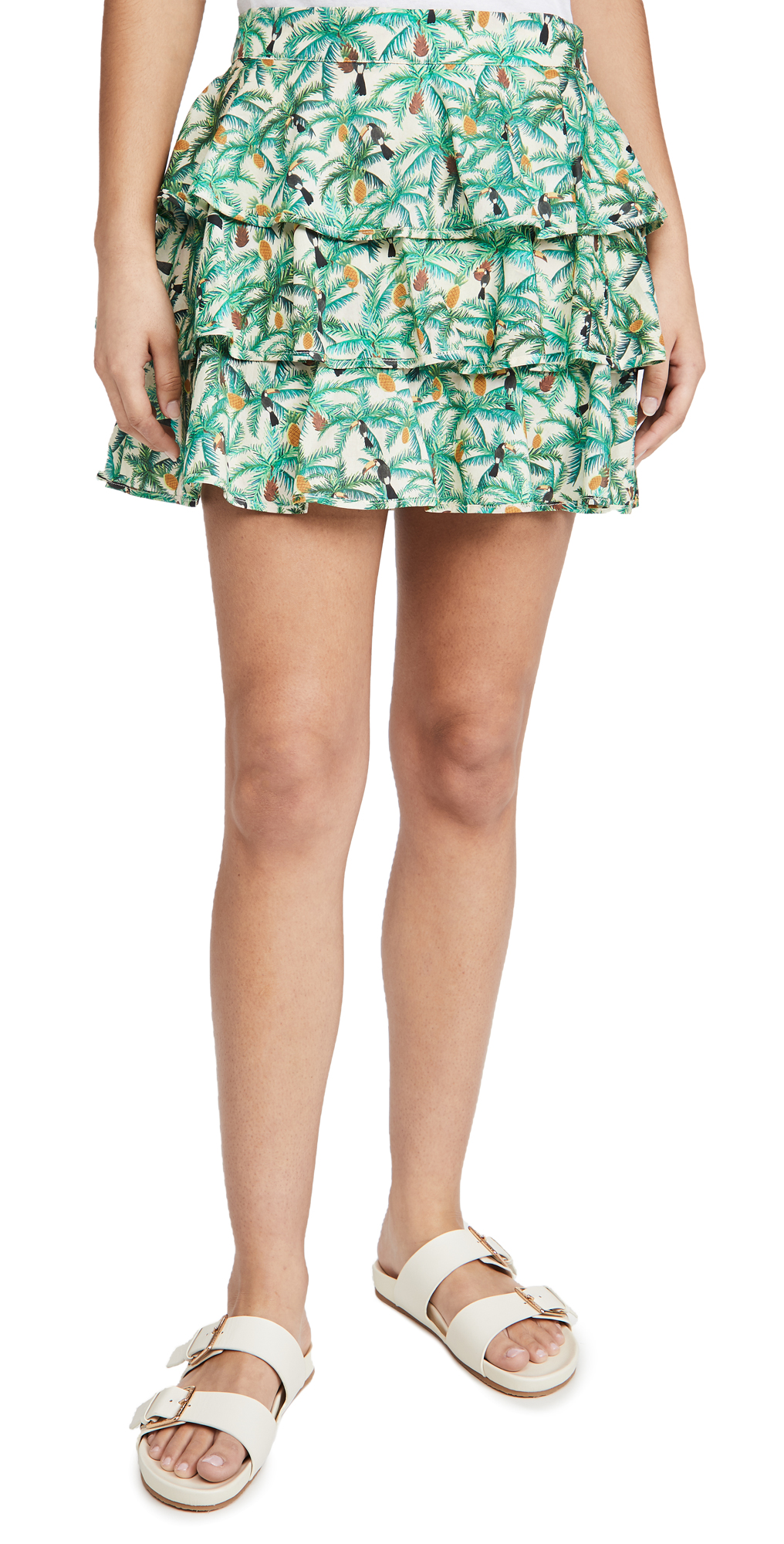 FARM Rio Mini Toucans Layered Miniskirt
