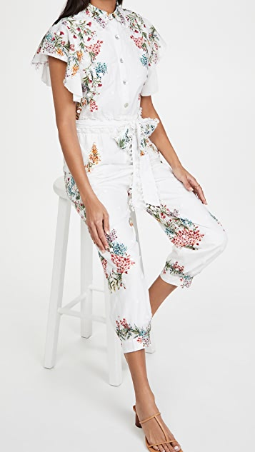 FARM Rio Louise Floral Frilled Sleeves Jumper
