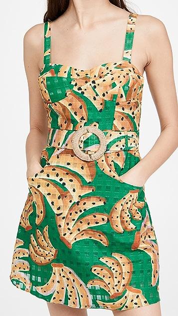 FARM Rio Green Raining Bananas Mini Dress