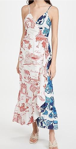 FARM Rio - Dual White Prints Wrap Dress