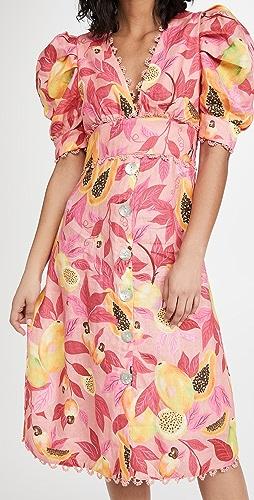 FARM Rio - Pink Papaya Salad Button Down Midi Dress