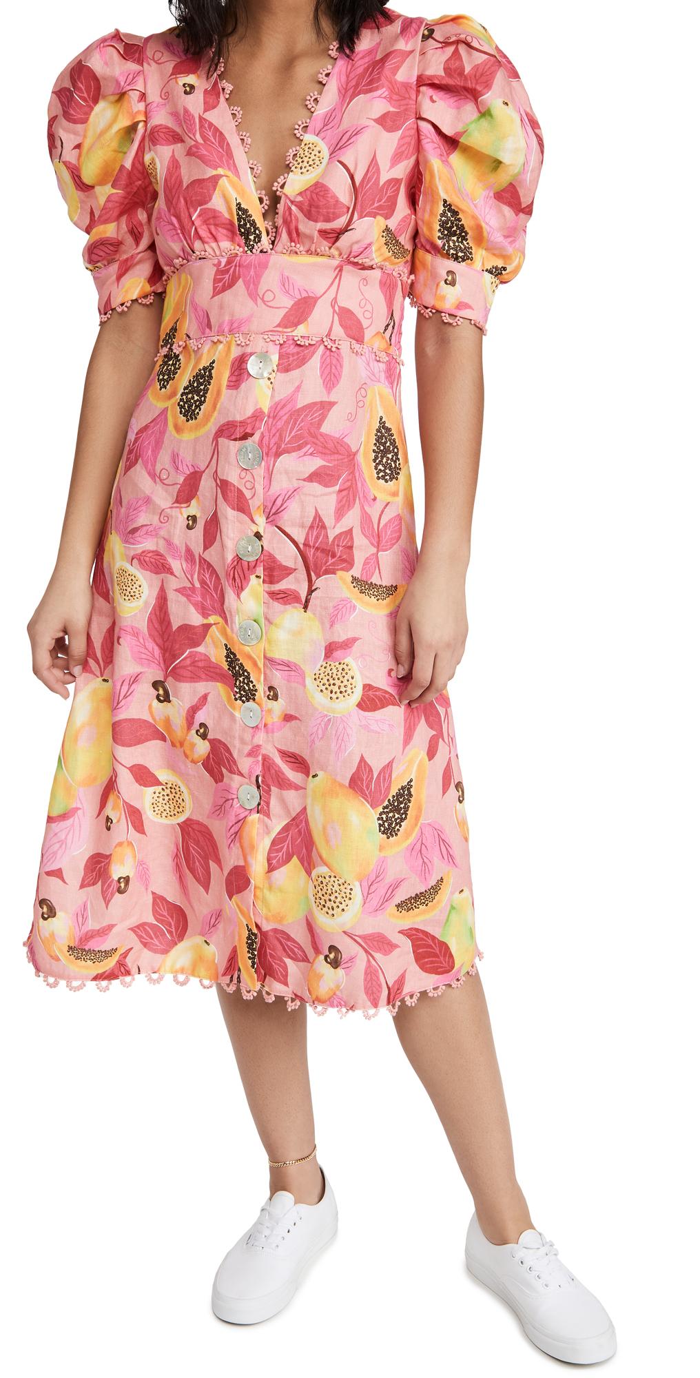 FARM Rio Pink Papaya Salad Button Down Midi Dress