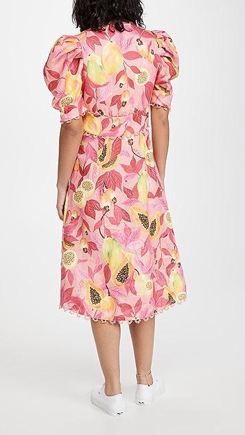 Farm Rio Pink Papaya Salad 系扣中长连衣裙