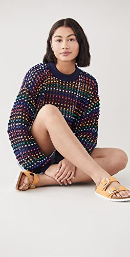FARM Rio - Multi Colored Beaded Crochet Sweater