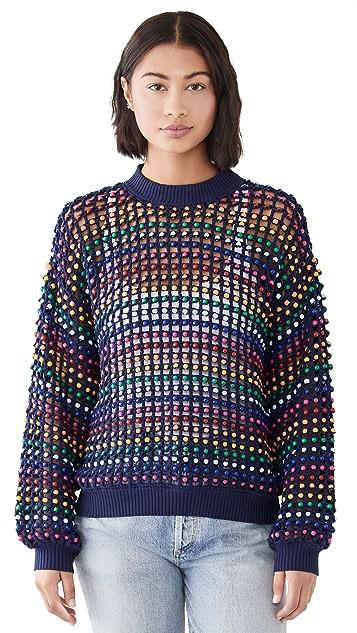FARM Rio Multi Colored Beaded Crochet Sweater