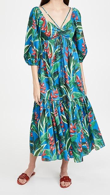 FARM Rio Dream Garden Midi Dress