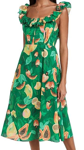 FARM Rio Green Papaya Salad Midi Dress