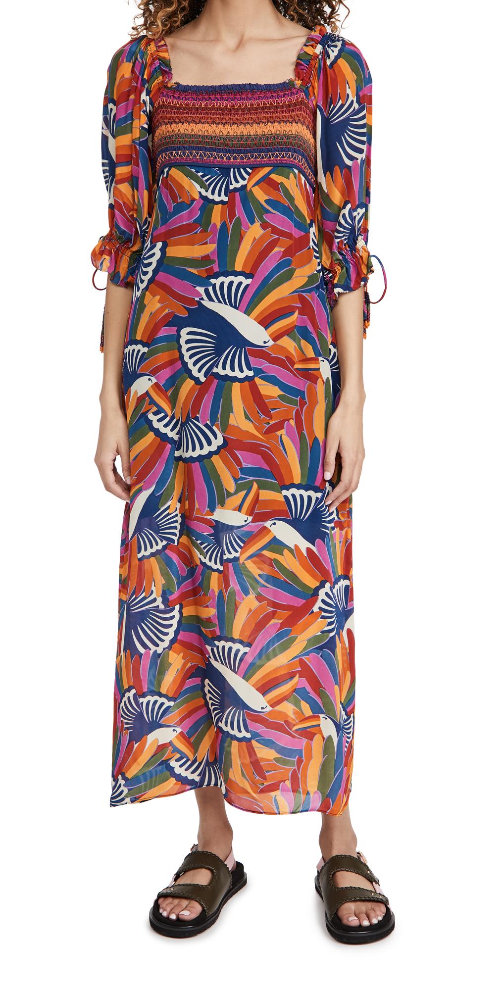 FARM Rio Rainbow Toucans Smocked Maxi Dress