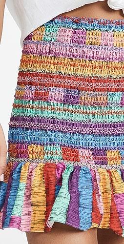 FARM Rio - Embroidered Stripes Miniskirt