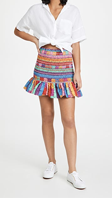 FARM Rio Embroidered Stripes Miniskirt