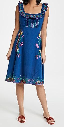 FARM Rio - Cross Stitch Embroidered Midi Dress