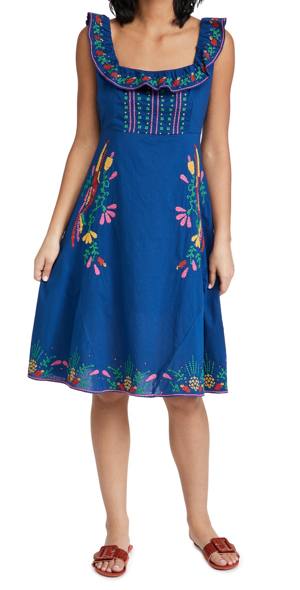 FARM Rio Cross Stitch Embroidered Midi Dress