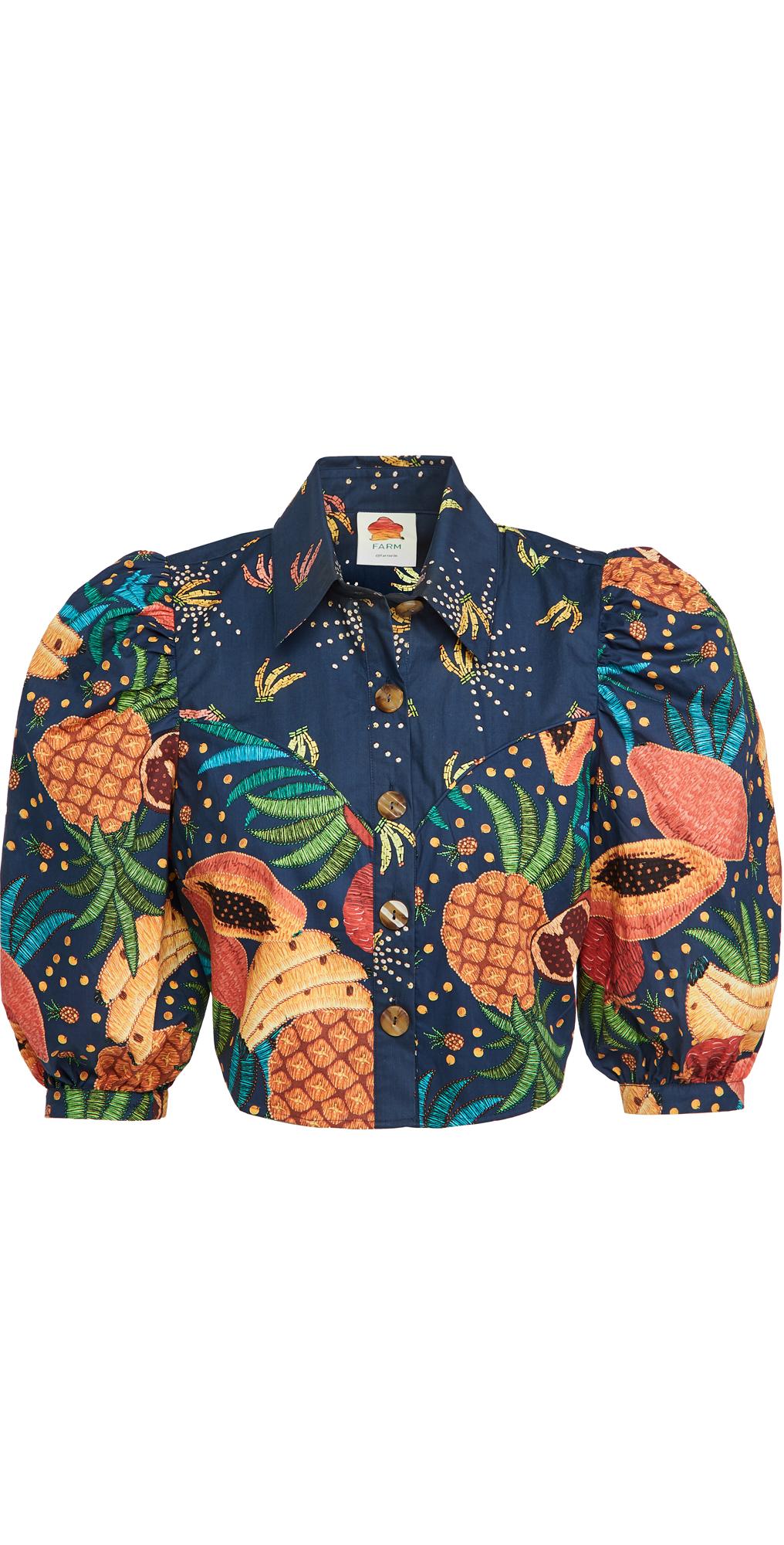 FARM Rio Fruit Forest Western Cropped Shirt