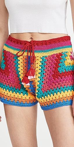 FARM Rio - Striped Scarf Crochet Shorts