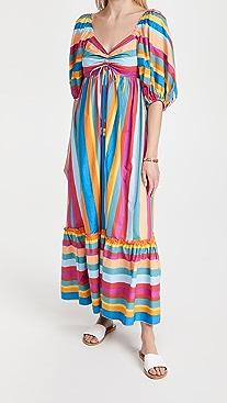 FARM Rio Striped Scarf Maxi Dress