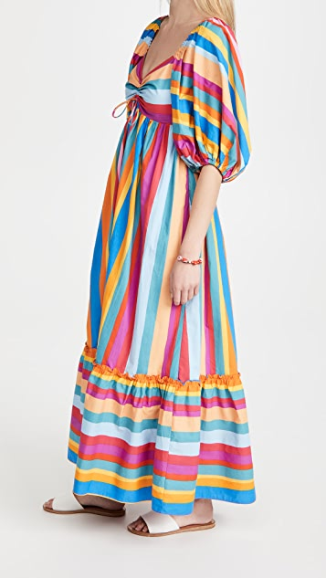 Farm Rio 条纹围巾长连衣裙