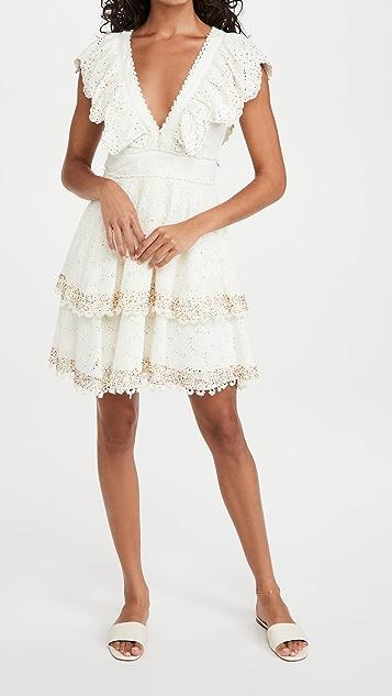 FARM Rio Eyelet Patch Beaded Mini Dress