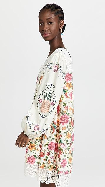 Farm Rio Toucans Garden 单肩刺绣连衣裙