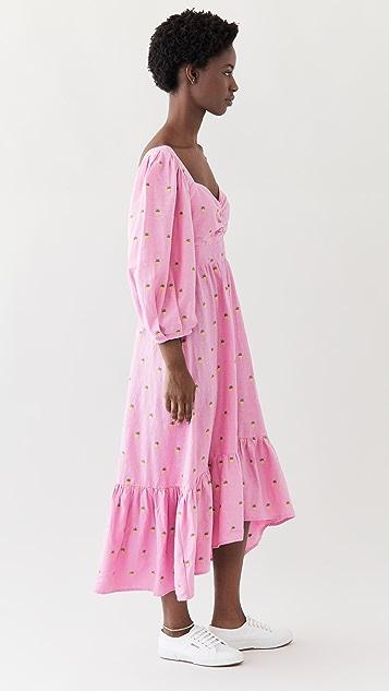 FARM Rio Embroidered Pineapples Pink Midi Dress