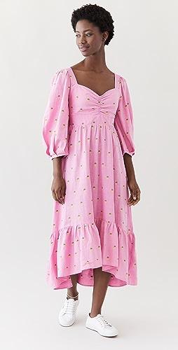 FARM Rio - Embroidered Pineapples Pink Midi Dress